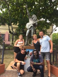 Bob Marley statute Museum Kingston guests and guide